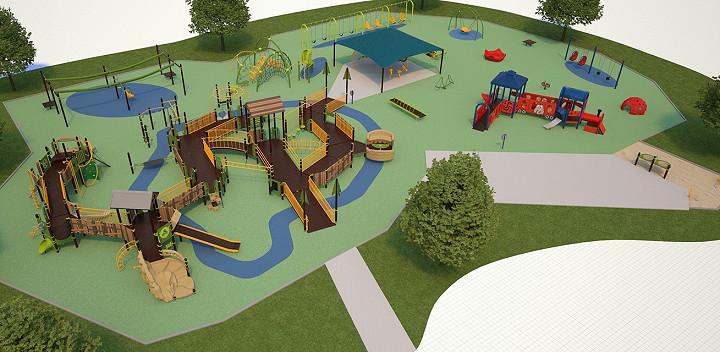 Digital rendering of playground