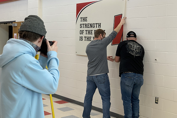 Sign being installed